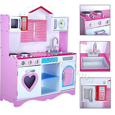 Large Girls Kids Wooden Play Kitchen Children's Role Play Pretend Set Toys Pink