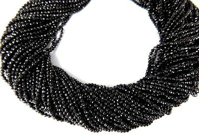 """5 Strands Natural Black Spinel Rondelle 2-2.5mm Beaded Faceted 13"""" Long Jewelry"""