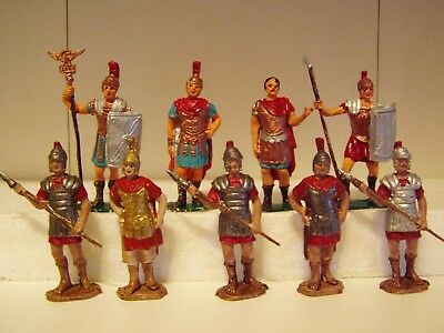 ROMAN OFFICERS & SOLDIERS, 70 mm. size, PAINTED PLASTIC x 9