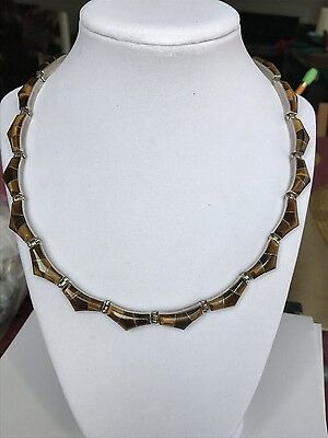 """Vintage Modernist Taxco Mexican 925 Sterling Silver Tigers Eye Necklace 18"""" 67g"""