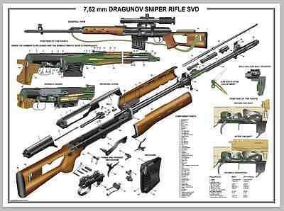 "Poster 12""x18"" Russian SVD Dragunov Sniper Rifle Manual Exploded Parts Diagram"