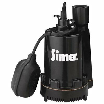 Simer 2161/2905 Submersible Thermoplastic Sump Pump, 1/4 HP