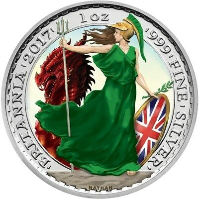 2017 2 P. BRITANNIA & DRAGON 1 Oz SILVER COLOR LIMITED MINTAGE 100 PCS BOX COA
