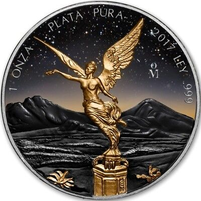 MEXICO LIBERTAD 2017 1 Oz SILVER COLOR MINTAGE 100 PCS WITH BOX & COA v2