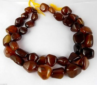 "1 Strand Whisky Chalcedony Gemstone Nugget Bead Free Size Smooth 15"" Long Strand"