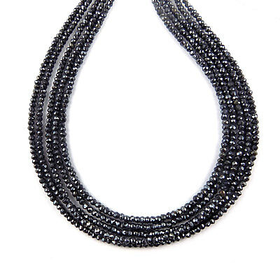 """5 Strand Black Spinel Coated Faceted Rondelles Beads 2.5-3mm 13.5"""" Long Beads"""