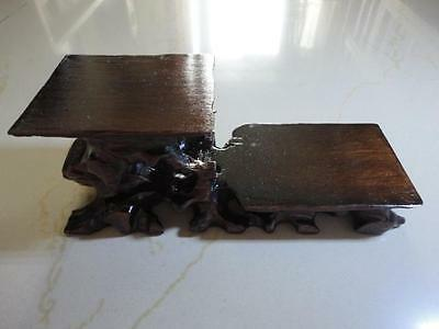 CHINESE BLACK HARDWOOD NICE CARVED BONSAI POT/VASE STAND two layer 180mm 7in US