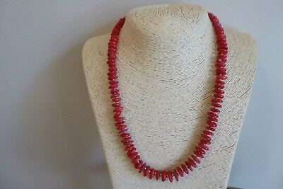 Graduated Red Sea Coral Heishi Bead And Silver Native American Necklace