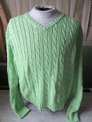 Vtg Ralph Lauren Polo Lime Green Cable Knit Sweater Size Large Hong Kong