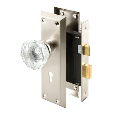 Defender Security E 2496 Keyed Mortise Lock Set with Glass Knobs 2-3/8 in. Ba...