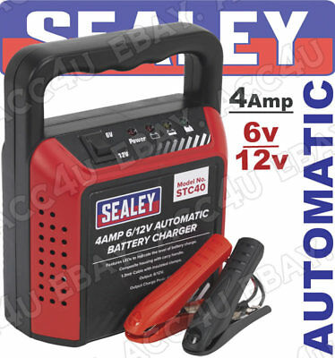 Sealey STC40 6v 12v 4 Amp Car Bike Boat Compact Automatic Battery Charger