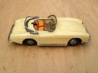 vintage tin litho,friction car,mercedes benz? convertible