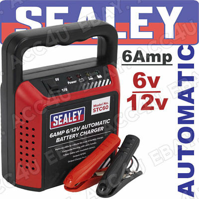 Sealey STC60 6v 12v 6 Amp Car Van Bike Boat Compact Automatic Battery Charger