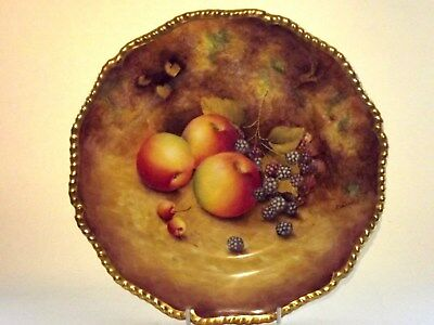 """EXCELLENT Royal Worcester Fruit Hand Painted Cabinet Plate 10,5"""" by D.Shinnie"""