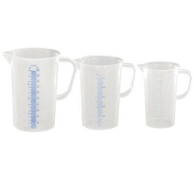 Messbecher Set 3er 250 500 1000ml Messkanne Maßbecher Kunststoff sterilisierbar