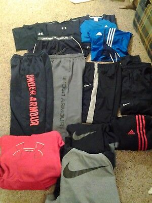 Huge Lot Boys Under Armour Nike & Adidas Youth L Shirts Shorts Pants Hoodies