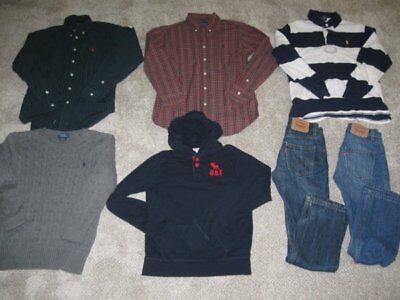 Lot of 7 Boys Medium POLO RALPH LAUREN Shirts LEVI'S 10 Slim Jeans A&F