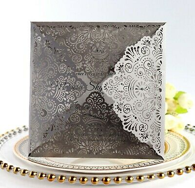 Silver Personalised Laser Cut Wedding Day Evening Invitation Card Free Envelopes