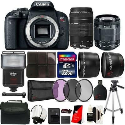 Canon EOS Rebel T7i 24.2MP Camera w/ 18-55mm and 75-300mm Lens + Accessory Kit