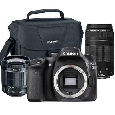 Canon EOS 80D 24.2MP DSLR Camera w/ 18-55mm and 75-300mm Lens + Canon 100ES Case
