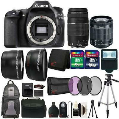 Canon EOS 80D DSLR Camera + 18-55mm and 75-300mm Lens and Top Accessory Bundle