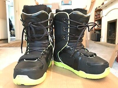 K2 Darko Black/Lime Green Mens Snowboard Boots Size 10 UK