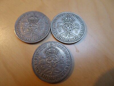 George VI. FLORIN - TWO SHILLINGS. 3 x 1948 coins