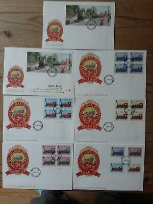 Isle of Man fdc Steam 125th anni, set of 7 plus 2 sets mint stamps