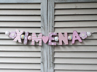 """ximena"" Wooden Letters Door Name Decor Baby Nursery Personalised Shabby Chic"