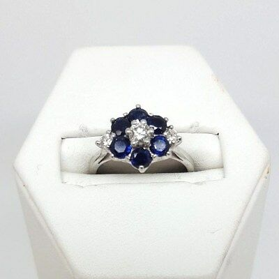 Sapphire and Diamond Flower Cluster Ring - 18ct White Gold (3005)