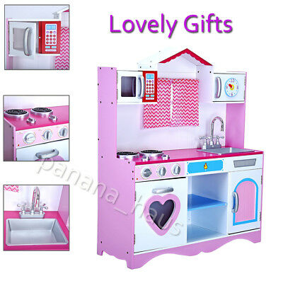 Large Girls Kids Wooden Play Kitchen Children's Role Play Pretend Set Toys Gifts