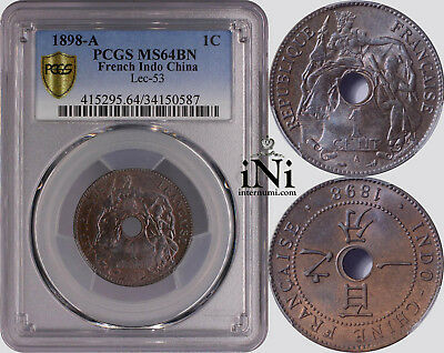 iNi  French Indo-China, 1 CENT, 1898, Rare year, PCGS MS 64 BN
