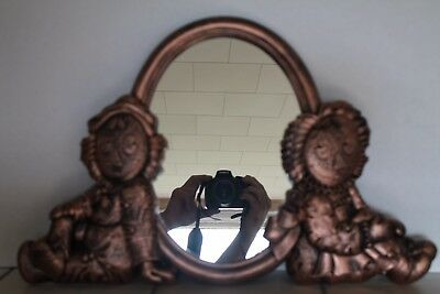 Bobbs Merrill Wall Plaque Raggedy Ann and Andy Mirror 1977