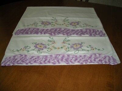 Vintage Pillowcases Hand Embroidered and Crocheted