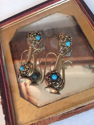Antique Vintage Deco Sterling Silver Gold Wash Chinese Turquoise Drop Earrings!