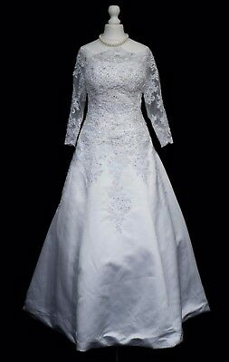 Vintage Style White Wedding Dress 10 A Line Lace Beaded R751 Vamp Halloween