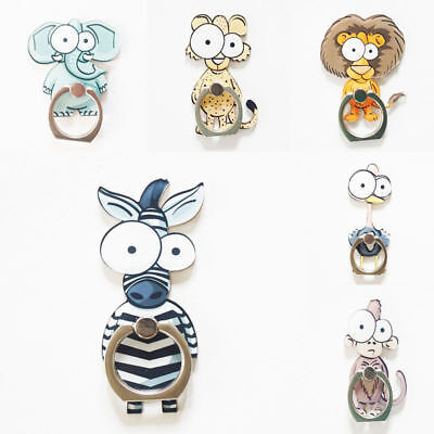 Cartoon Animal Acrylic Finger Ring Sticky Mount Stand Holder For Mobile Phone