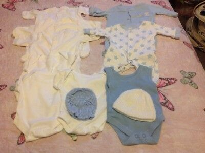 premature tiny early baby clothes bundle boys up to 6lbs vest sleepsuits hats