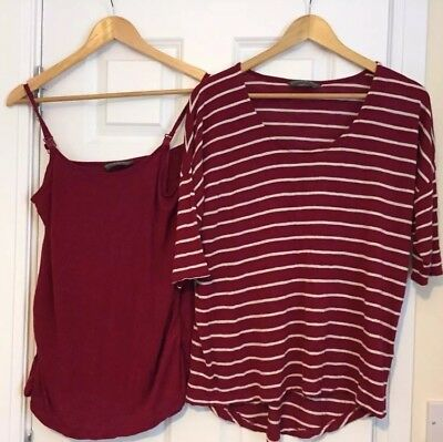 Mothercare Blooming Marvellous Maternity Nursing Top & Vest Red Striped Size 14