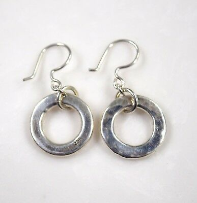 Vintage Sterling Silver 925 Dangle Hammered Hoops Pierced Earrings 10.4 g