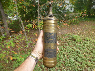 1917 Pyrene Fire Extinguisher Brass Era Cadillac Chevy Dodge Ford Buick Peerl
