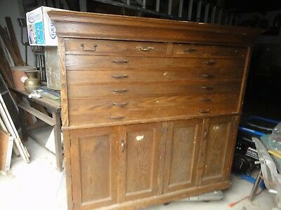Antique Oak Flat Cabinet Architect Blue Print storage