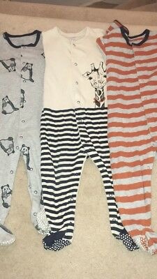 3 Pack 12-18 Months Boys Mamas And Papas Sleepsuits