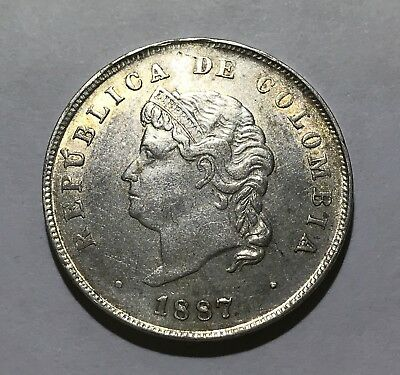 """""""Cocobola"""" Colombia 50 cents 1887 Lei 0,500 about UNC"""
