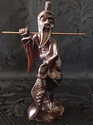 Chinese Vintage Hand-Carved Dark Wood Fisherman Statue