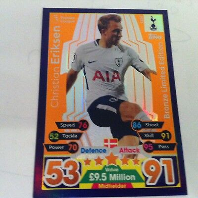 match attax 17/18 LIMITED EDITION CHRISTAN ERIKSEN TOTTENHAM