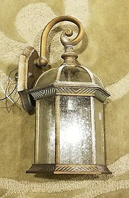 6-Sided Copper Finish & Glass Porch Entry Sconce Lantern VTG Wall Light Fixture