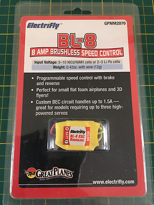GreatPlanes BL-8 Electrify 8 Amp Brushless Speed Control GPMM2070 ESC Controleur