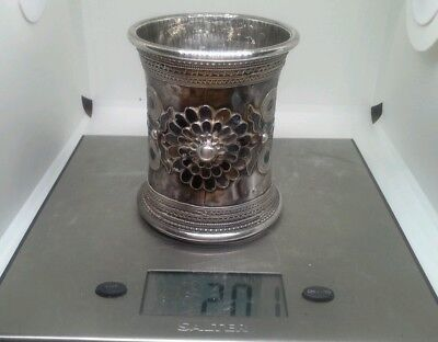 Unusual Antique Heavy  Solid Silver & Enamel Ottoman Beaker 201 Grams