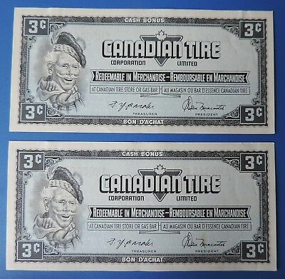 2 Old CTC Canadian Tire 3 cent  sequential notes coupons nice !